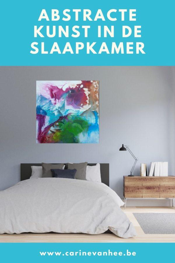 Abstracte kunst in de slaapkamer